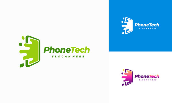 Phone Technology logo designs, Pixel Mobile Tech template vector