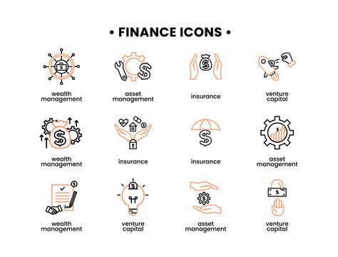 Finance icons set. Vector illustration of asset management, venture capital, insurance, wealth management icons.
