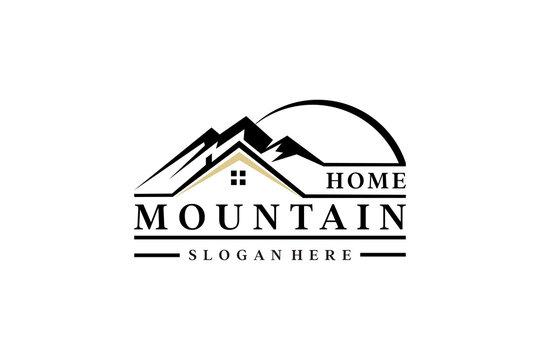 mountain home design logo vintage concept vector