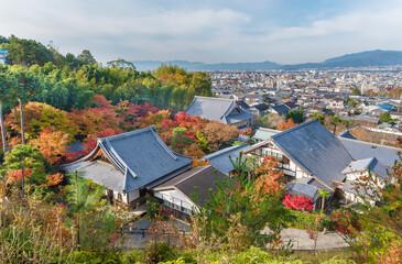 Fototapete - Landscape of historical city Kyoto, Japan in autumn season