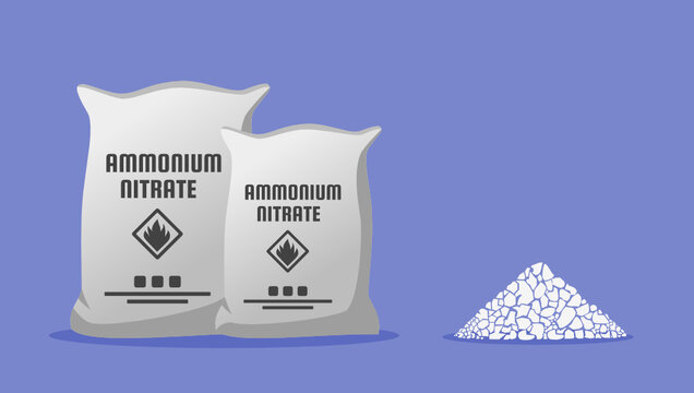 Ammonium Nitrate NH4NO3 in Sack Bag Container and The Sample. Chemical Compound Used for Agriculture Fertilizer and Explosive Mixtures Component for Mining, Quarrying, and Civil Construction.