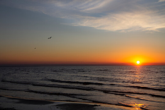 Sun setting in Baltic Sea with two single birds flying, small waves visible on the dark water, orange sunset