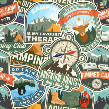 Summer camp colorful seamless pattern with rv trailer, camping tent, campfire, bear,camping tent and inspirational quotes. Vector. Background, wallpaper, seamless pattern with patches