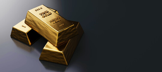 Close up view of Gold bars or ingots in bank vault background. Precious metal. 3D illustration