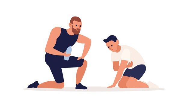 Trainer making support to tired man during training at gym vector flat illustration. Male coach suggest water to client after intense workout isolated. Personal fitness instructor and sportsman