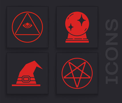 Set Pentagram in a circle, Masons, Magic ball and Witch hat icon. Vector.