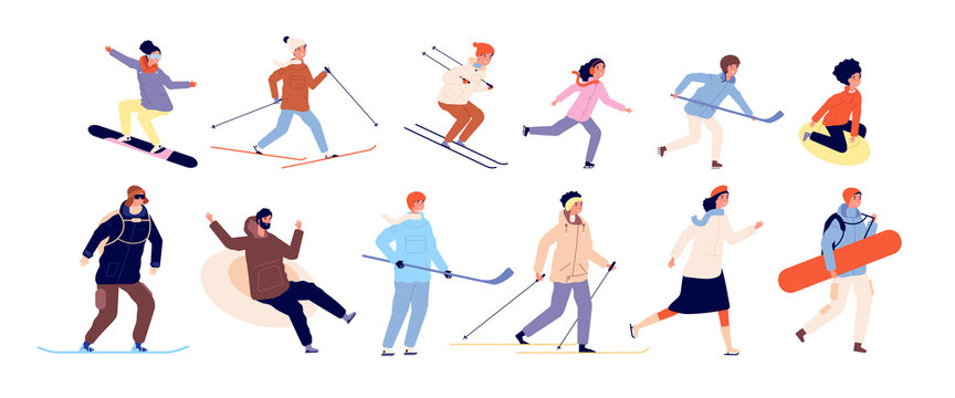 Winter activities with kids. Sports couples, christmas holiday time. Isolated skating ski snowboard and hockey characters vector illustration. People sledding activity outdoor winter