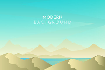 Desert, dunes,  ocean, sea, lake. Abstract landscape, Vector banner with polygonal landscape illustration, Minimalist style