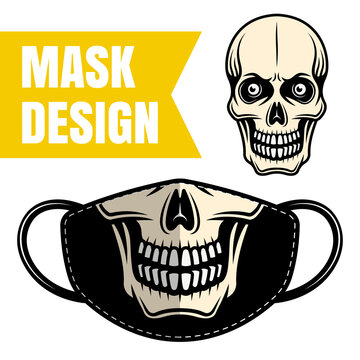 Protective fabric mask vector design with skull