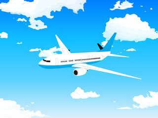 大空の風景と飛行機 旅客機のイラスト Fotobehang