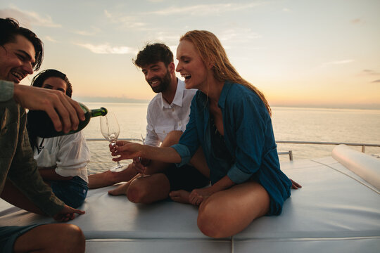Friends having a party on a yacht