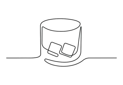 Continuous one line drawing of whiskey in glass with ice cubes. Bar and restaurant concept minimalist design for logo isolated on white background. Vector illustration