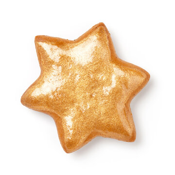Lebkuchen Stern mit goldenem Zuckerguss für Weihnachten
