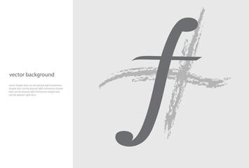Musical symbol Forte on gray background. Design template for music banner or presentation. - Vector