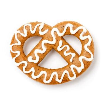 Lebkuchen Brezel mit Zuckerguss Dekoration für Weihnachten
