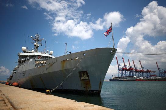 Royal Navy Ship HMS Enterprise is seen at the Beirut's port
