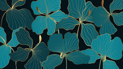 Fototapeta Luxury elegant gold orchids floral line arts pattern and black background. Topical flower wallpaper design, Fabric, surface design. Vector illustration.