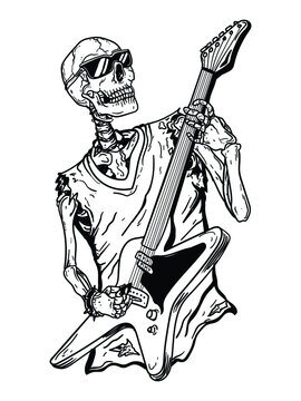 tattoo and t-shirt design black and white hand drawn   skeleton guitarist premium vector