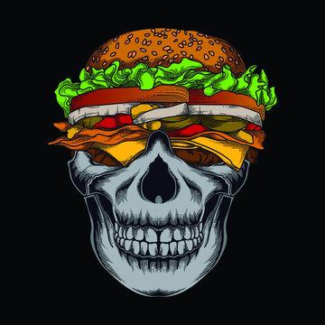 artwork illustration and t-shirt design burger skull premium vector