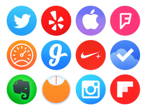 Kiev, Ukraine - April 28, 2016: Collection of popular Apple watch application icons printed on paper: Twitter, Evernote, Foursquare, Glide, Instagram, Nike running and other