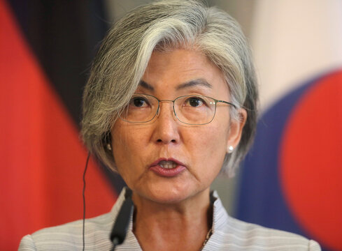 South Korean Foreign Minister Kang Kyung-wha briefs the media during a news conference in Berlin