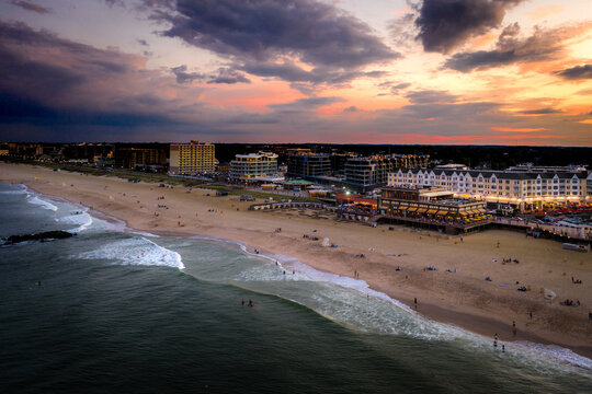 Aerial sunset pier village long branch new jersey