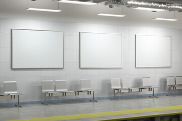 Three blank horizontal posters mock up on the wall of underground subway station.
