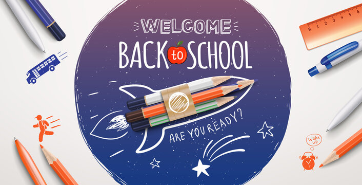 Welcome back to school text drawing with school items and elements. Welcome back to school poster. Vector illustration