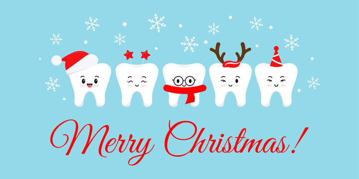 Cute smile teeth with xmas accessories on Merry Christmas dentist greeting card. White happy winter teeth emoji in santa hat with deer horns photo props. Flat design cartoon style vector illustration.