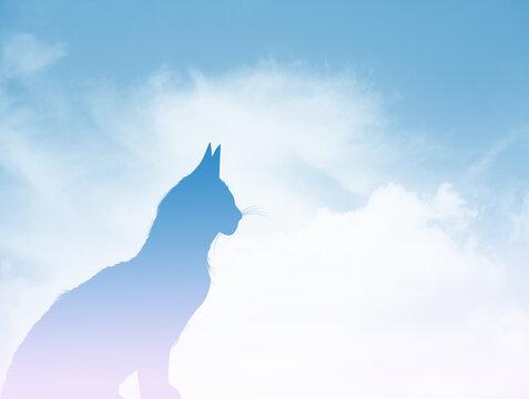 illustration of cat in heaven