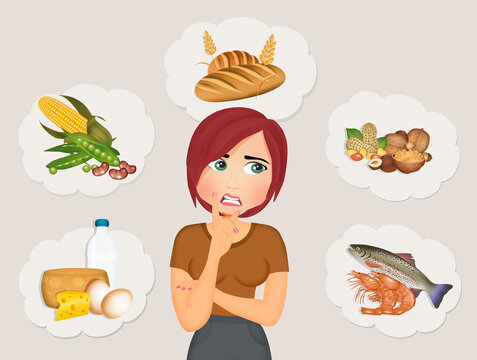 illustration of food intolerance and food allergies