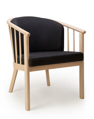 Wooden chair with black textile seat