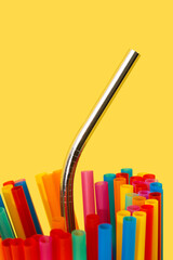 reusable drinking straw and plastic drinking straw