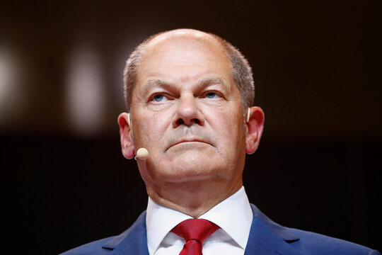 Olaf Scholz, who says he has been proposed by his Social Democratic Party (SPD) leadership as their candidate for the Chancellor at next year's elections, attends a news conference in Berlin