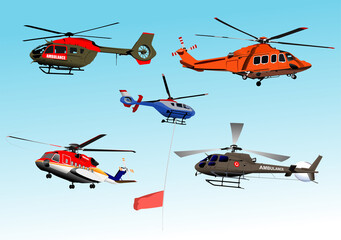 Fotobehang Helicopter Set of Ambulance or army helicopter. Vector 3d illustration