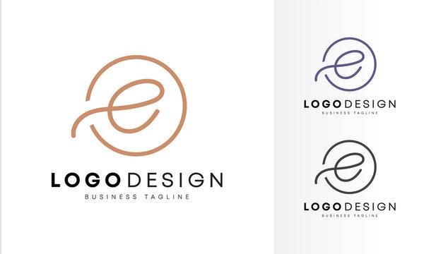 Minimalist & initial flat  E letter logo design, line art vector illustrations