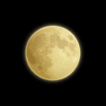 Vector full yellow moon in the night dark sky. Supermoon.