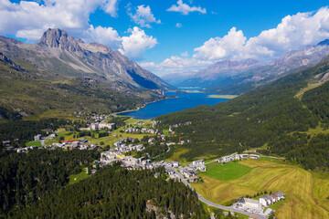 Bregaglia valley - Switzerland - Maloja Pass - Aerial view from the Maloja pass towards the east
