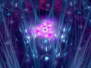 Pink glowing futuristic quantum entity