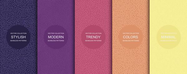 Fototapeta Collection of trendy seamless bright vector patterns - creative textile design obraz