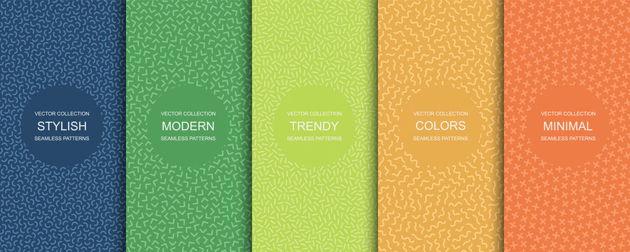 Collection of trendy seamless bright vector patterns - minimal design