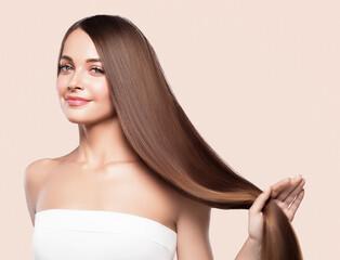 Smooth long hair woman beauty portrait
