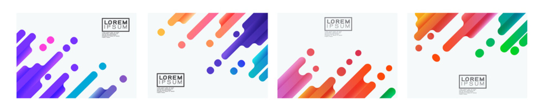 Set of colorful gradient oblique strip on white background with space. Modern minimal background for business or corporate presentation. vector illustration