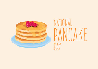 National Pancake Day vector. Pancakes with syrup and raspberries vector. Pile of pancakes on a plate icon. Important day