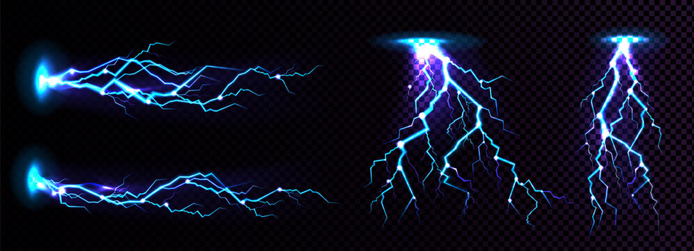 Electric lightning strike, impact place, plasma or magical energy flash in blue color isolated on black background. Powerful electrical discharge, Realistic 3d vector illustration
