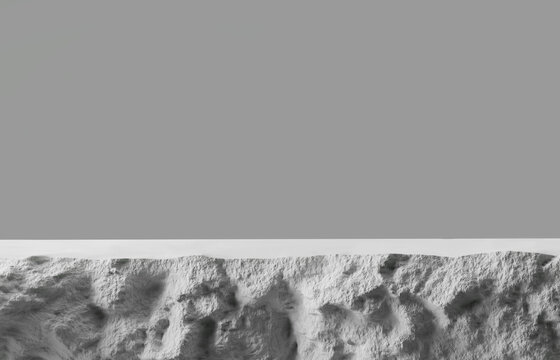 3D white stone podium display with copy space gray background. Cosmetics or beauty product promotion mockup.  Natural rough grey rock step pedestal. Trendy minimalist banner, 3D render illustration.
