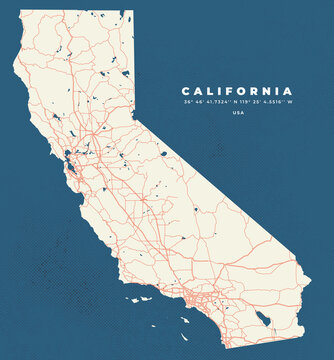 California map vector poster flyer