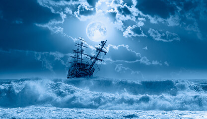 """Sailing old ship in storm sea - Night sky with moon in the clouds """"Elements of this image furnished by NASA"""