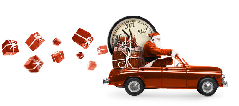 Christmas is coming. Santa Claus on toy car delivering New Year 2021 gifts and countdown clock isolated on white background