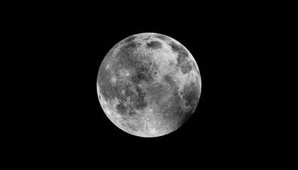 Wall Mural - Full moon isolated black background